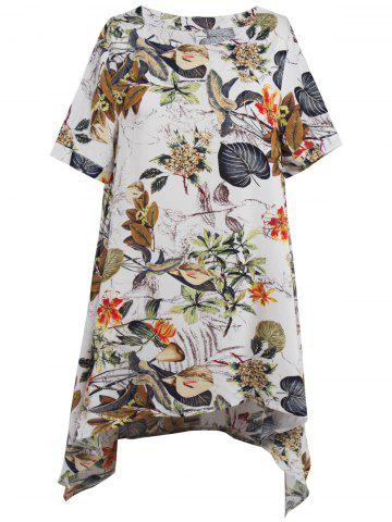 Trendy Asymmetrical Floral Casual Short Flowy Dress WHITE S