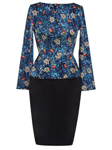Shop Printed Long Sleeve Pencil Peplum Office Dress CADETBLUE 2XL
