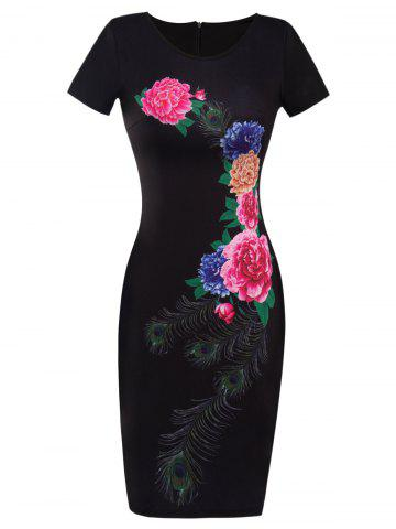 New Printed Floral Fitted Bodycon Dress BLACK 2XL