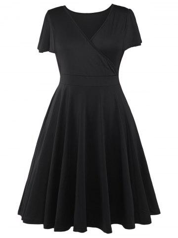 New Plus Size Surplice Casual Midi A Line Dress With Short Sleeve BLACK 5XL