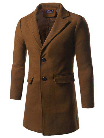 Notch Lapel Back Vent Woolen Two Button Coat - Camel - 5xl