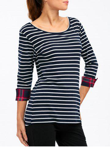 Outfit Striped Cuffed Slimming T-Shirt DEEP BLUE XL