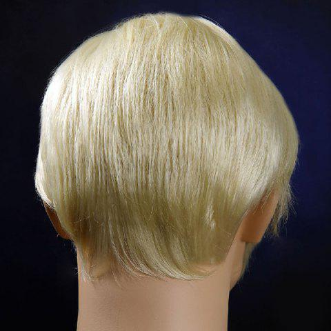 Outfit Short Oblique Bang Straight Men's Synthetic Wig - VENETIAN GOLD  Mobile