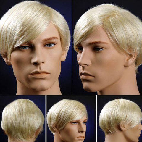 Fancy Short Oblique Bang Straight Men's Synthetic Wig