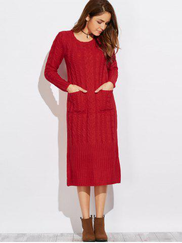 Fashion Cable Knit Sweater Dress