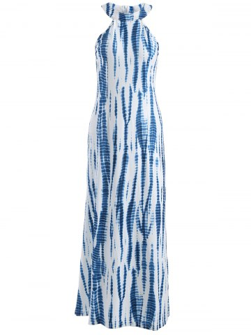 Trendy Printed Maxi Halter Casual Gown Evening Dress
