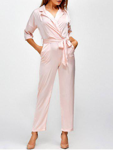 Outfits Plunging Neck Pockets Wrap Jumpsuit