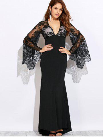 Affordable Plunging Neck Cutout Lace Spliced Maxi Prom Dress