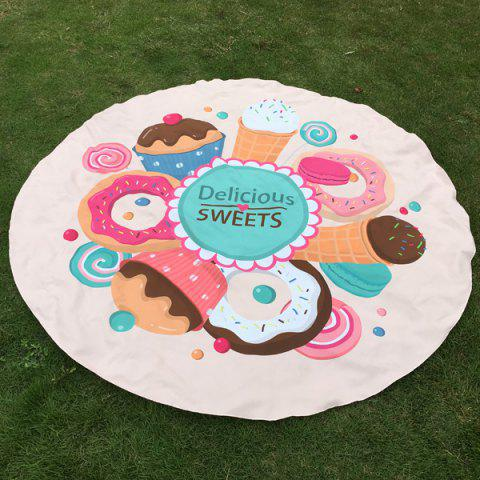 Fancy Merry Delicious Sweets Cake Donut Print Round Beach Throw OFF-WHITE ONE SIZE