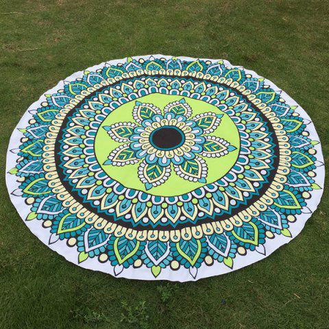 Flower and Leaf Print Round Beach Throw - Green - One Size