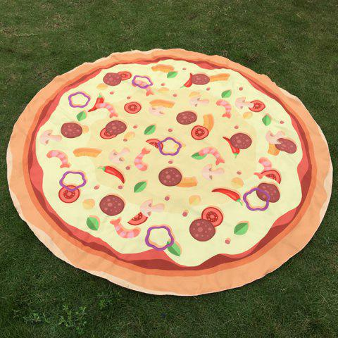 Christmas Chillies Seafood Pizza Print Round Beach Throw - Light Yellow - One Size