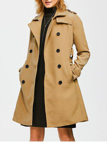 Cheap Epaulet Belted Double-Breasted Long Trench Coat KHAKI S