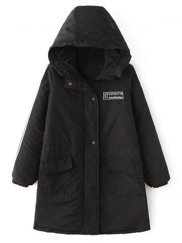 Latest Quilted Winter Hooded Parka Coat BLACK XL