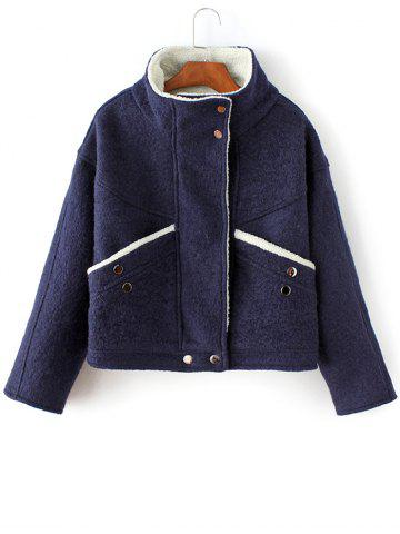 Sale Funnel Collar Wool Blend Jacket PURPLISH BLUE L