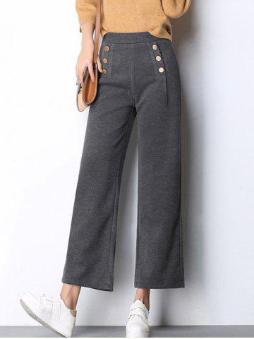 Beaded Wool Wide-Leg Pants