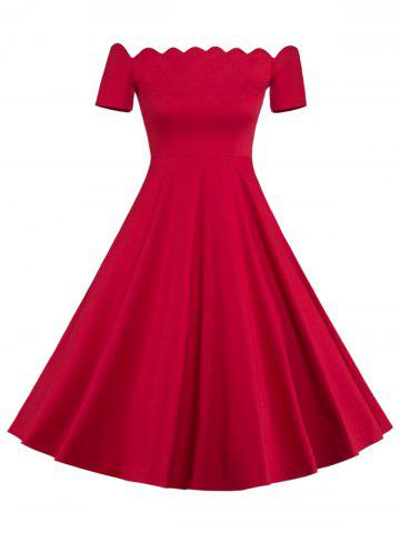 Fit and Flare Off The Shoulder Vintage Dress - RED XL