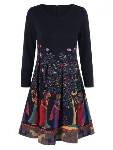 Fit and Flare Patterned Dress - Black - M