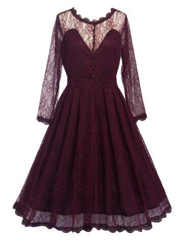 New Swing Lace Full Sleeve Skater Homecoming Formal Dress with Sleeves WINE RED 2XL