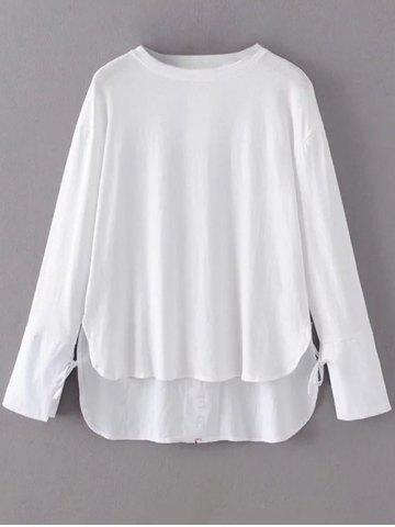 Latest Step Hem Long Sleeve Graphic Back Tee WHITE L