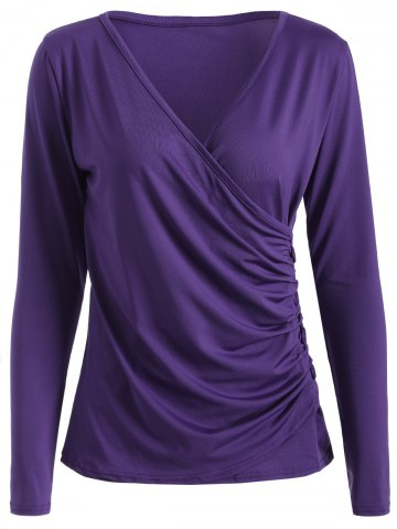 Outfit V Neck Buttons Runched Surplice T-Shirt PURPLE XL