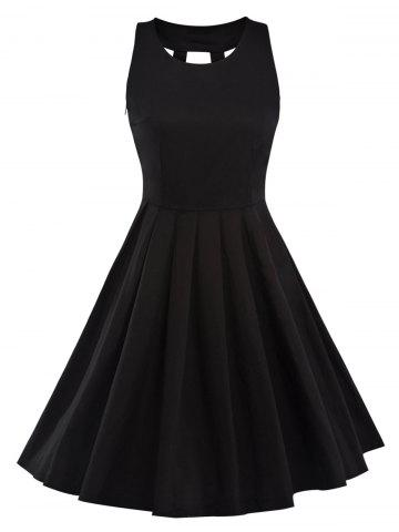 Latest Vintage Pleated Fit and Flare Dress BLACK 2XL