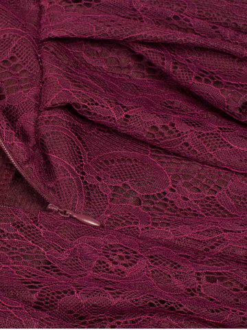 New Lace Skater Homecoming Formal Dress with Sleeves - L WINE RED Mobile