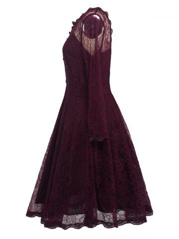 Sale Lace Skater Homecoming Formal Dress with Sleeves - L WINE RED Mobile