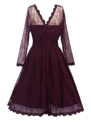 Online Lace Skater Homecoming Formal Dress with Sleeves - L WINE RED Mobile