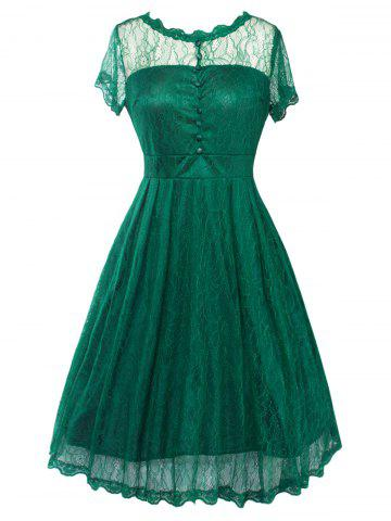 Funky Short Wedding A Line Dress With Sleeves - GREEN 2XL