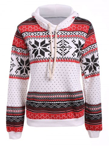 Latest Polka Dot Christmas Snowflake Pullover Hoodie RED/WHITE XL