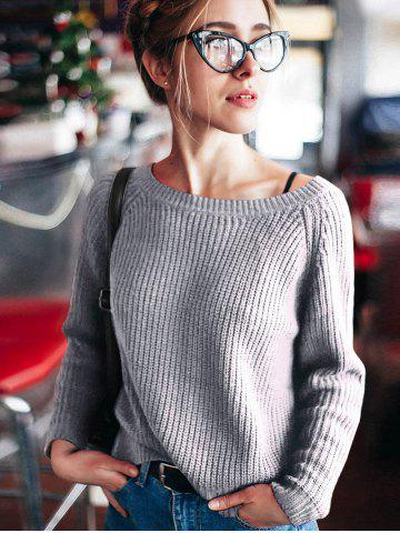 Sale Boat Neck Loose-Fitting Ribbed Sweater GRAY ONE SIZE
