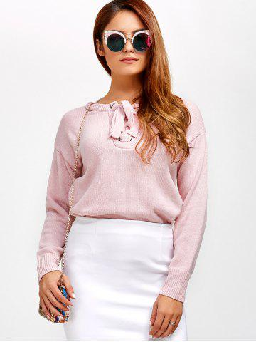 Discount Lace-Up Loose Casual Sweater LIGHT PINK ONE SIZE