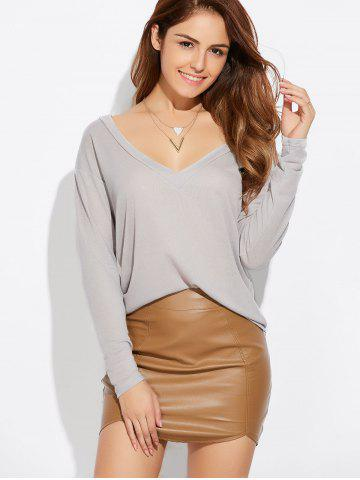 Online Casual Plunging Neck Loose Knitwear GRAY XL