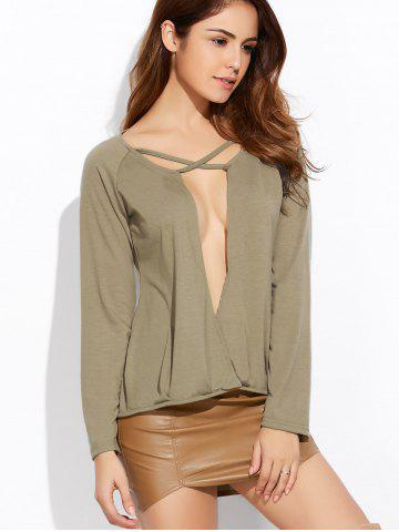 New Deep V Neck Long Sleeve Crossover Top ARMY GREEN XL