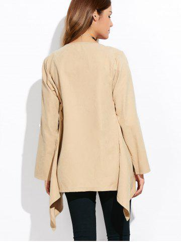 Outfits Drape Front Rolled Sleeve Coat - 5XL LIGHT KHAKI Mobile