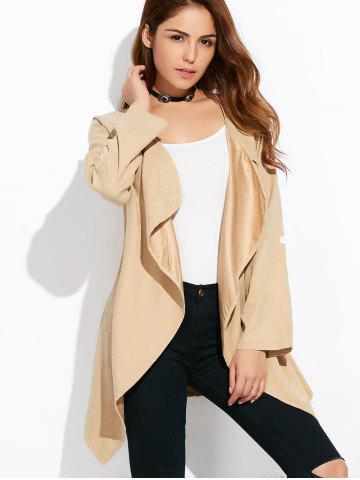 Drape Front Rolled Sleeve Coat - Light Khaki - 3xl