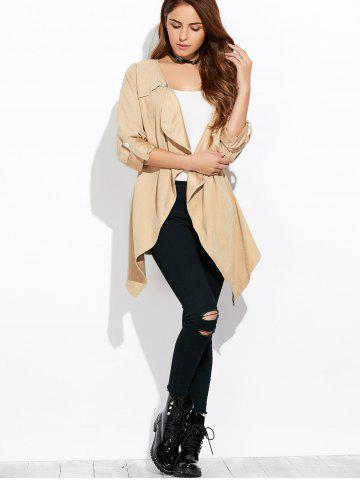 Outfits Drape Front Rolled Sleeve Coat - XL LIGHT KHAKI Mobile
