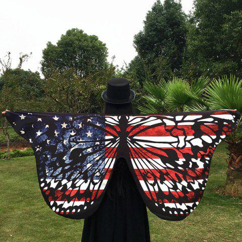 Affordable Outdoor American Flag Butterfly Wing Scarf - RED  Mobile