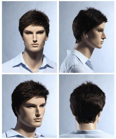 Shop Short Pixie Cut Fluffy Straight Men's Synthetic Wig BROWN