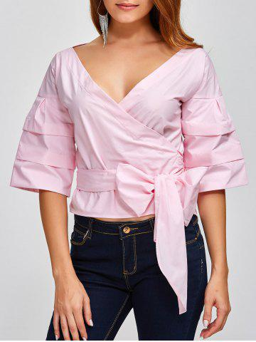Shop V Neck Layered Sleeve Wrap Blouse PINK 2XL