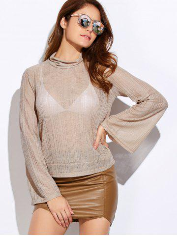 Turtle Neck Back Cutout Lace Up Knitwear - Off-white - S