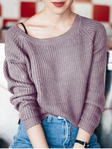 Trendy Boat Neck Loose-Fitting Ribbed Sweater PURPLE ONE SIZE