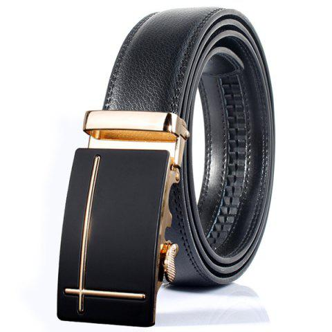 Trendy Polished Perpendicular Line Automatic Buckle Wide Formal Belt - GOLDEN  Mobile