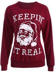 Streetwear Christmas Santa Claus Head Sweatshirt - WINE RED XL