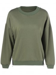 Plus Size Double Ziper Sweatshirt - ARMY GREEN