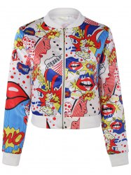 Funny Cartoon Print Bomber Jacket