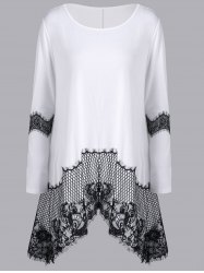 Lace Insert Long Sleeve Asymmetrical T-Shirt - WHITE M