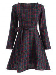 Tartan Plaid Hole Design Swing Dress