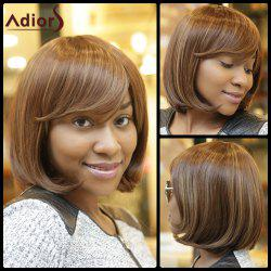 Stunning Medium Straight Side Bang Capless Brown Mixed Synthetic Wig For Women