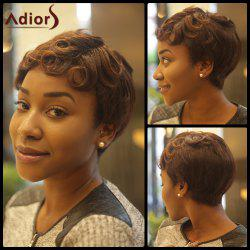 Short Fluffy Curly Inclined Bang Synthetic Wig